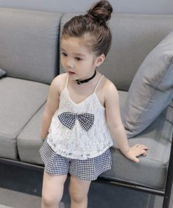 Humor Bear Baby Girls Clothes Sets 2019 Summer Brand New Fashion Plaid Bow Tie T-Shirt+Shorts Sets Kids Children's Clothing Suit 1