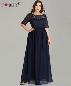 Plus Size Mother Of The Bride Dresses Ever Pretty EZ07624NB Elegant A Line Long Lace Formal Evening Gowns Robe De Soiree 2018
