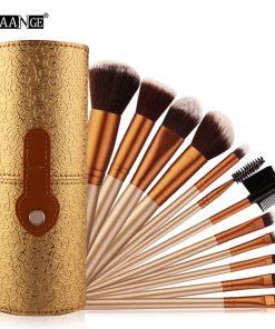 MAANGE 12pcs Professional Cosmetic Makeup Brush Set Beatuy Power Foundation Make Up Brushes Tool Kit + Holder Case Cup maquiagem