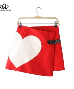 2018 autumn winter new love heart print woolen women red black asymmetrical wrap skirt with leather buttons 1