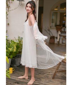 2019 Sleepwear Women Night Wear Robe Gown Set Silk Lace Kimono Sexy Nightie Cotton Lining Slip Dress Bathrobe Peignoir Sets T429 1