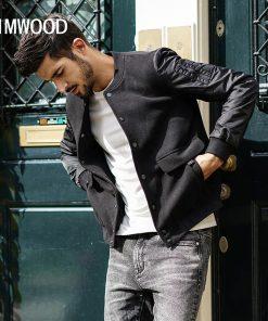 SIMWOOD 2019 Brand Fashion Spring  Slim Jacket Men Fitness Baseball Jacket Cotton Outerwear Plus Size Coat High Quality JK017014