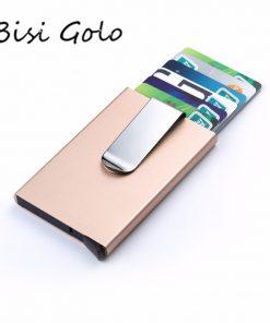 BISI GORO 2019 Men Women Card Holder Slim Aluminum ID Credit Case Money RFID Blocking Metal Wallet Travel Mini Wallet Automatic