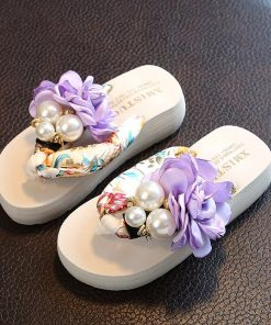 Girls Beach Slippers Children Floral Slippers Women Home Shoes Kids Fashion Casual Flip-flops Sandals 2019 Summer Comfortable 1