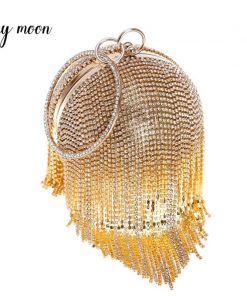Fashion Women Clutch Bags Round Shaped Full Rhinestone Crystal Tassel Clutches Banquet Handbags Evening Bag Chain Shoulder Bag 1