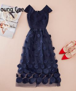 YoungGee European Summer Bandage Dresses Pink Blue Fitted Off the Shoulder Bead Appliques Bodycon Lace Party Midi Dress vestidos 1