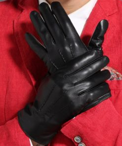 Gours Winter Genuine Leather Gloves Men New Brand Black Fashion Warm Driving Gloves Goatskin Mittens Guantes Luvas GSM015 1