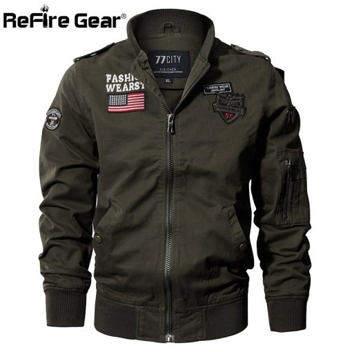 ReFire Gear Military Style Airborne Pilot Jacket Men Tactical Flight Army Jacket Autumn US Flag Air Force Motorcycle Cotton Coat 1