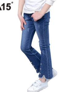 A15 Children Girls Jeans New 2018 Elastic Waist Pants Kids Skinny Jeans Baby Girl Kids Clothes Hot Pencil Pants 3 6 8 10 12 Year