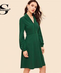 Sheinside Button Front V Neck Fit & Flare Women Dress Green Vintage Long Sleeve Womens Dresses Knee Length A Line Party Dress