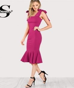 Sheinside Bright Hot Pink Straps Bodycon Party Dress Office Lady Plain Elegant Sleeveless Ruffle Hem Fishtail Penci Women Dress