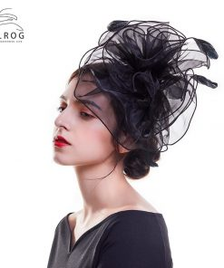 WELROG  British Royal Wedding Hats for Women Fascinators Feather Flowers Clip Hat Bridal Hair Accessories Elegant Derby Hats