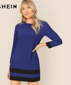 SHEIN Blue Two Tone Cut And Sew Tunic Keyhole Back Long Sleeve Dress Women Spring Colorblock Weekend Casual T-shirt Dress