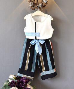 Bear Leader Girls Clothing Sets 2018 New Summer Fashion girls sleeveless Splicing design T-shirt+Casual pants 2Pcs Girls Clothes 1