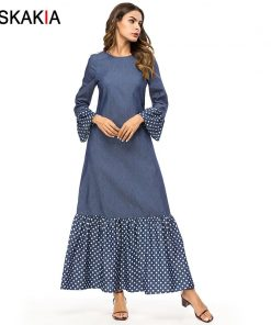 Siskakia Fashion Polka Dots Patchwork Women Dresses Autumn Fall 2018 Maxi Long Dress Brief Elegant Urban Casual Muslim Dress New