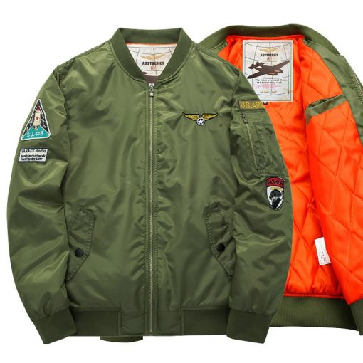 Winter MA1 Air Force Pilot Bomber Jacket Men Military Motorcycle Padded Tactical Jacket MA-1 Airborne Army Flight Coat Plus Size