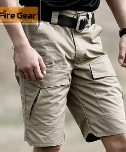 Summer Militar Waterproof Tactical Cargo Shorts Men Camouflage Army Military Short Male Pockets Cotton Rip-stop Casual Shorts 1