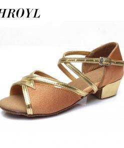 Size 24-41 New 2016 Girls Children Women dance shoes Tango Salsa Latin Dance Shoes Low Heel Black Silver Blue 6Color