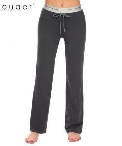 Ekouaer Women Cotton Casual Sleep Bottoms Soft Pant Elastic Drawstring Waist Solid Pajama Lounge Pants Loose Female Pants 1