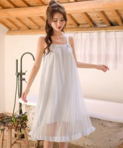 Sexy Nightwear Lingerie Women Sleeveless Strap Cold Shoulder Ruffle Laced Sleeping Dress Summer Organza Cotton Night Gown T133 1