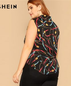 SHEIN Plus Size Chain Print Knot Hem Sleeveless Women Blouse 2019 Summer Weekend Casual Round Neck Tank Tops And Blouses 1
