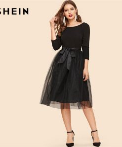 SHEIN Black Bow Tie Waist Mesh Overlay Highstreet Fit and Flare Elegant Dress Lace A-line Backless Belted Skinny Women Dress