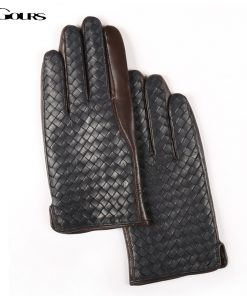 Gours Winter Men's Genuine Leather Gloves Goatskin Hand Weave Finger Gloves 2018 New Arrival Fashion Brand Warm Mittens GSM016