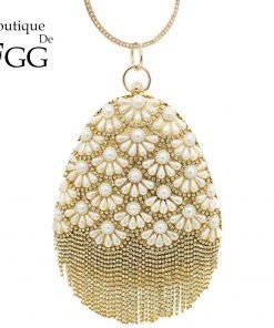 Boutique De FGG Socialite Egg Shape Women Fashion Gold Crystal Purse Evening Bags Diamond Tassel Handbags Wedding Beaded Clutch