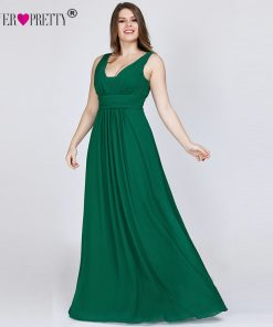 Ever Pretty Plus Size Evening Dresses New Arrival Elegant V-neck Chiffon Navy Blue A-line Long Party Gowns for Wedding Guest