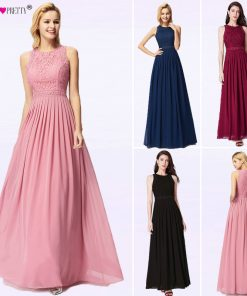 Long Evening Dresses 2018 Ever Pretty Elegant Beading A Line Pleated Chiffon Lace Formal Dress Party Gown EP07391 robe de soiree