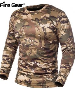 ReFire Gear Spring Long Sleeve Tactical Camouflage T-shirt Men Soldiers Combat Military T Shirt Quick Dry O Neck Camo Army Shirt 1