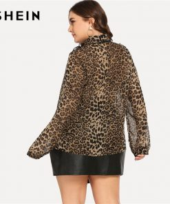 SHEIN Plus Size Tie Neck Leopard Print Turn-down Collar Thin Blouse Women 2018 High Street Office Lady Long Sleeve Top Blouse 1