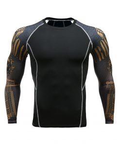 Fitness Men Pro Compression Shirts MMA Rashguard Skin Base Layer Workout Long Sleeves T-shirt Crossfit Jiu Jitsu Tee Shirt homme