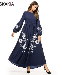 Siskakia Elegant Vintage Floral Embroidery Women Long Dress High Waist Swing A line Dresses Maxi Bishop Sleeve Autumn Fall 2018 1