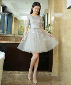 LOVONEY T411 Real Photo A-Line O-Neck Short Prom Dresses 2019 Elegant Formal Dress Evening Party Dresses Gown Vestido Fe Festa 1