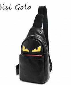 BISI GORO Mens Chest Bags Brand Bottega Veneta Shoulder PU Leather Crossbody business Messenger bags Male Travel&School Bags