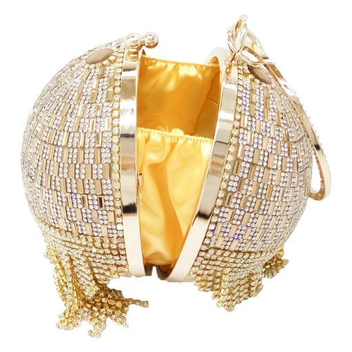 Golden Diamond Tassel Women Party Metal Crystal Clutches Evening Bags Wedding Bag Bridal Shoulder Handbag Wristlets Clutch Purse 5