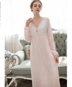 Elegant Black Sleepdress Autumn Sleepwear Lantern Sleeve V Neck Bow Tie Long Sleepwear Nightgown Cotton Nightdress Negligee T152