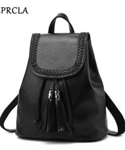 REPRCLA Fashion Tassel Women Backpacks School Bags for Girls PU Leather Feminina Mochila Travel Shoulder Bags Knapsack