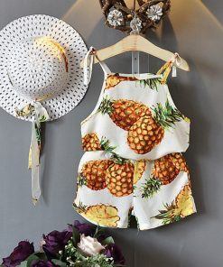 Bear Leader Girls Clothing Sets2018Summer New Special ethnic style holiday suits Girls printed camisole + casual shorts Send hat 1