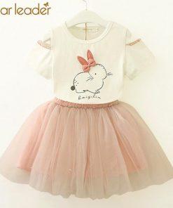 Bear Leader Girls Clothing Sets New Summer Fashion Style Cartoon Rabbit  Printed T-Shirts+Pink Dress 2Pcs Girls Clothes Sets 1