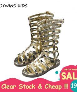 CCTWINS KIDS summer shoe girl sandal children knee high gladiator sandal kid summer sandal for girl gold silver kid boot B133