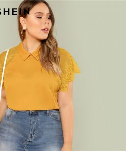 SHEIN Ginger Plus Size Keyhole Back Raglan Lace Short Sleeve Blouse Women Round Neck Top Summer Plain Office Lady Top Blouses