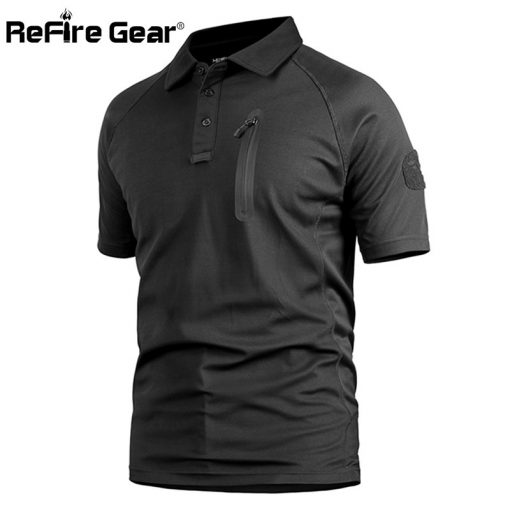ReFire Gear Men's Tactical Military T Shirt Summer Army Force Camouflage T-shirt for Man Breathable Pocket Short Sleeve T Shirts 2