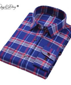 DAVYDAISY High Quality Cotton Flannel Men Shirt Long Sleeved Plaid Stripe Solid Formal Shirts Brand Casual Shirts Man DS154