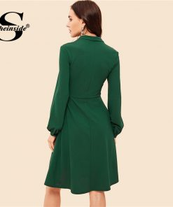Sheinside Button Front V Neck Fit & Flare Women Dress Green Vintage Long Sleeve Womens Dresses Knee Length A Line Party Dress 1