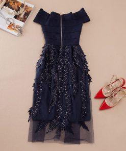 Young Gee Women Summer Bandage Dress Off Shoulder Diamonds Leaves Vestidos Strapless Knee Length Celebrity Evening Party Dresses 1