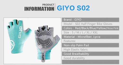 GIYO Anti Slip Gel Pad Bicycle Gloves Gel Pad Short Half Finger Cycling Gloves Breathable Outdoor Sports Men MTB Bikes Gloves 4
