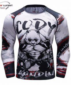 Panda 3D Long Sleeve Compression T-Shirt Men's Quick Dry T-Shirt Men's MMA T-Shirt Clothes Fitness Top Rashgard Rash Protection