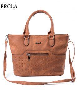 REPRCLA High Quality Handbags Vintage PU Leather Shoulder Bags Crossbody Hollow Large Top-handle Women Bags Bolsa Feminina 1